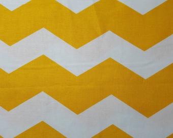 Yellow & White Chevron Stripe Cotton Fabric by the Yard