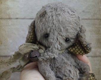 "Stuffed elephant ""Little Orphan "".Teddy Bear.OOAK teddy.Mini teddy bear.Artist teddy bear.Retro teddy bear.Teddy"