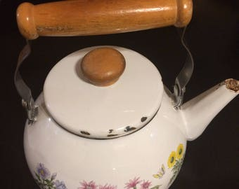 Vintage Floral Teapot, Retro Tea Kettle