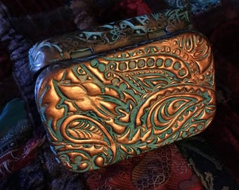 paisly doodle in copper and turquoise altered altoid tin