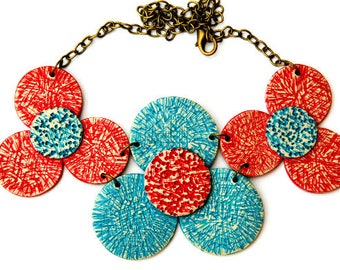 Contemporary jewelry, Modern jewelry, Contemporary modern jewelry, Big modern necklaces, Flower necklace, Painted jewelry, Red & turquoise