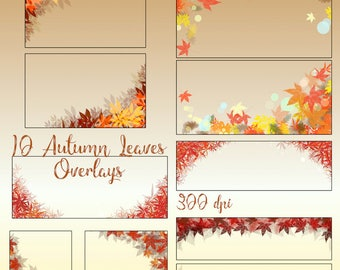 10 Autumn Leaves Overlays, Photography Overlay, Digital Leaves, Fall Leaves, Fall Photography, Autumn Borders, Fall Overlay, Leaves Overlays