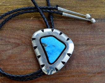 Southwest Sterling Silver and Turquoise Bolo Tie by Jose Campos