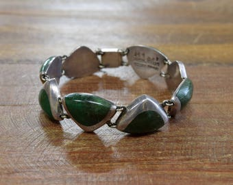Vintage Taxco Sterling Silver Bracelet with Green Stones