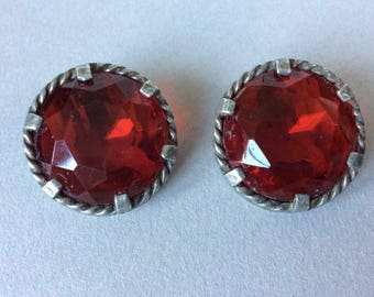 Large Red Rhinestone Clip On Earrings