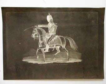 Vintage Negative Print Lieutenant General Marquis Of Anglesea Engraving Waterloo Mudford 19th C 1816 Mounted War Horse Drafting Paper Poster