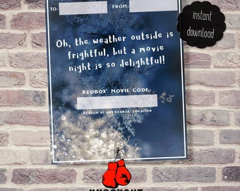 Holiday Redbox® Gift Tags Printable - Oh the weather outside is... movie night Redbox® code card-Christmas Redbox 4 on pg-Instant Download