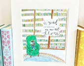 ON SALE Girl in Library Print - Reading - Classroom Decor - library - LE1