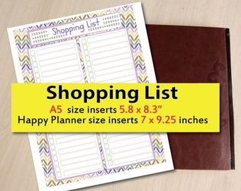 Shopping List printable, Printable Grocery List, Shopping List inserts,  happy planner size inserts,A5 size inserts - Instant Download