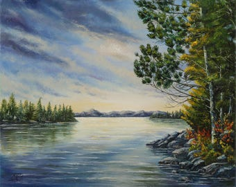 Housewarming gift-for-father of bride gift Landscape oil painting Original painting Nature wall art Realism art painting Landscape painting
