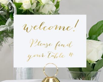 Gold Foil Wedding Sign, Elegant, Unique, Chic, Bridal, available in gold, copper, rose gold, or silver