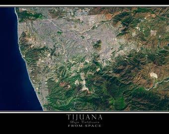 Tijuana Mexico Satellite Poster Map