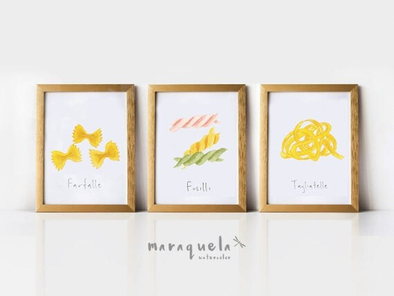 SET PASTA illustration, Italian food decor pasta, Wall Art food fresh style, Culinary collection, Kitchen decor, Italian food, poster, print