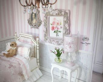 Dollhouse Miniature Bed, Bedroom, Set, Lamp and Shabby Rose Framed Art, 1:12, OOAK, White Bed, Pink Plaid Fabric Head/Footboards, 3 pcs.