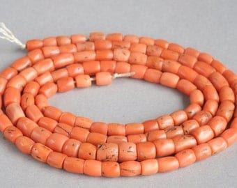 Antique Natural Coral Necklace, Coral Jewelry, Mediterranean Coral Beads, Natural Color Coral, Free shipping!!!