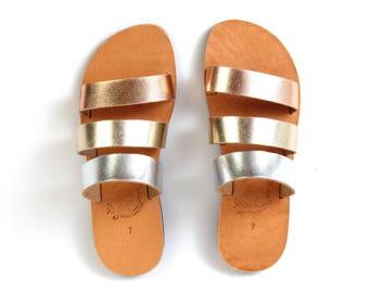 Made to Order Sandals - Handmade Greek Leather Sandals - Tri Color Gold - Grecian Style - Flip Flop Sandals - Slides - Metallic Sandals