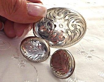 Sterling Silver Brooch and Earrings Set, Burkhart Brooch and Earrings, Etched Sterling Silver, Twist Back Earrings