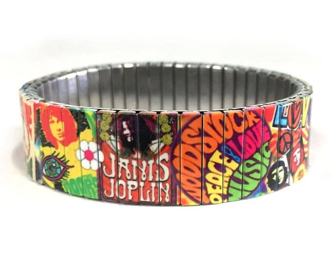 Hippie 60s bracelet-Stretch bracelet-Woodstock-Peace and Love-Wrist Art-Sublimation-Stainless Steel-70s birthday