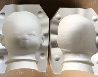 "Vintage Estate 22"" Bye Lo Porcelain Doll Head Ceramic Mold B-317 Byron Molds BT"