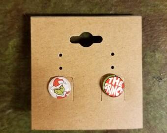 Custom Handmade How the Grinch stole Christmas Inspired novelty Stud Earrings