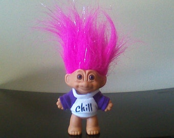 "Vintage Russ Troll Doll, Chill, Sparkly Pink Hair Trolls 3"""