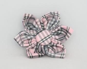 Handmade pink/grey checked tartan dog flower.