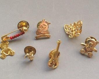 Lapel Pins/Mixed Lot Destash/Teddybears/Butterfly/Violin/ Angel/ Novelty Pins/Tie Tacks