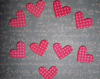 set of 10 red and pink foam hearts