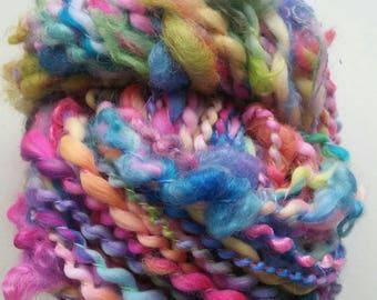 EQUINOX skein of yarn spun to spinning wheel.