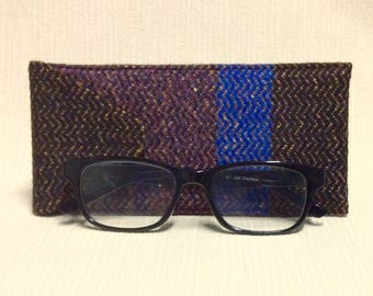 Welsh tweed glasses/spectacles case in mottled black, purple & blue