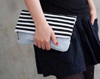 Clutch, boho Clutch mint schwarz weiß gestreift, maritim, Streifen, Stoff Tasche, handgemachte clutch, Kosmetiktasche, Schminktasche