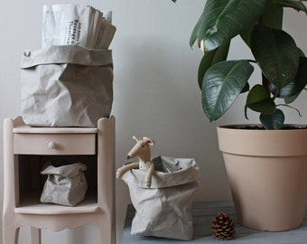 Paper sack, Paper bag storage, Grey washable paper, bin, toy storage, kids room, planter, hamper, container, minimalistic, stylish