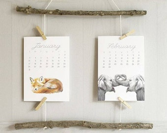2017 Calendar - Animal Calendar - Desk Calendar - 5x7 - 8x10 - Nursery Arts - Gift for Kid, Coworkers - New Year Gift