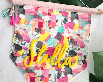 STELLA RAINBOW Design // Personalised Pennant Flag // Nursery Child Gift // Wall Hanging // Yellow Acrylic Name Script // Bright //Colourful