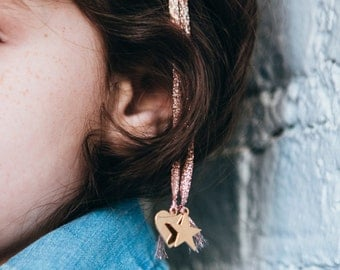 SOLID GOLD BARRETTES : metallic rose gold ribbon braid barrettes with charms - kids accessories