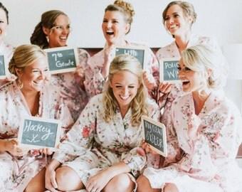 FREE ROBE Set of 7+ Personalized Satin Floral Robe, Bridesmaid Gift, Wedding Robe for Bridesmaid Proposal Gift Set, Bridal Party Robe Set