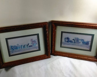 Two Vintage Kay Lamb Shannon Prints/Country Shelf /Matted And Framed/Great Used Condition (V)