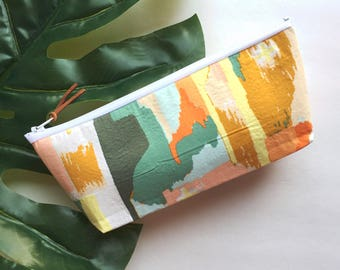 Multi-Color Abstract Zipper Pouch