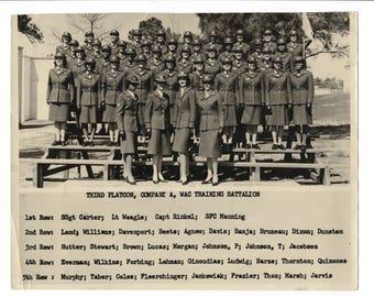 Third platoon, vintage women's military 8x10 photo