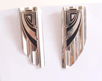 Egyptian Revival Sterling Silver Earrings