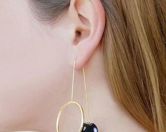 ON SALE NOW Pearl Earrings, Gold Hoops, Gold Pearl Earrings, Statement Earrings, Pearl Drop Earrings, Ear Jackets, Gold Dangle Earrings, Jun
