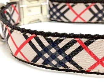 Tartan Plaid Dog Collar | Burberry Inspired Dog Collar | Tartan Plaid Leash | Personalized Dog Collar | Tartan Plaid Step In Harness
