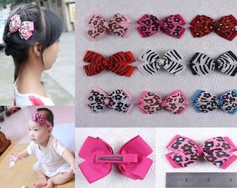 Instock DIY Baby Girl flower zebra Grosgrain Ribbon Hair bows with clips 613-1-9