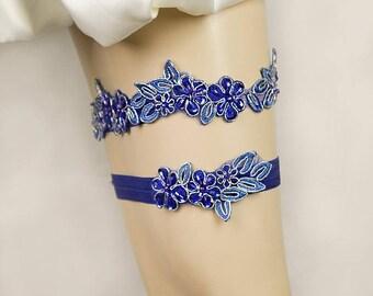 Wedding Garter Set,Royal Blue Beaded Lace Bridal Garter Set , Keepsake,Toss Garter, Customizable Handmade-GT044