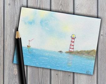 ACEO,original watercolour, lighthouse painting, art, original painting, watercolor, seascape painting, miniature painting, coastal art, ATC