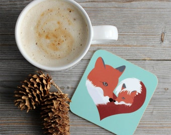Fox Coaster fox gift mothers day gift drinks coaster gift for her wildlife art heart art woodland animal forest animal drink coaster