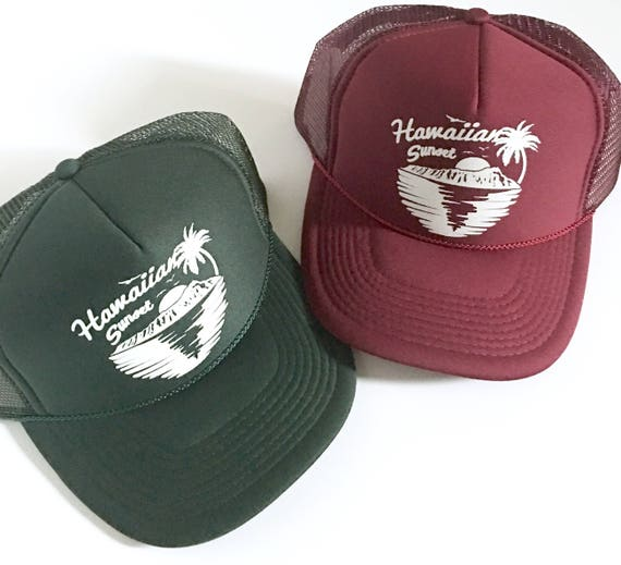 Hawaiian Sunset Trucker Hat in Merlot or Evergreen Screen Print| Aloha Hat| Hawaii Hat| diamondhead| sunset| 80s Hat | Beach Hat| Vin