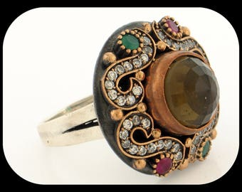 Authentic Turkmenistan Olive Quartz Ruby Emerald & CZ 925 Sterling Silver RING