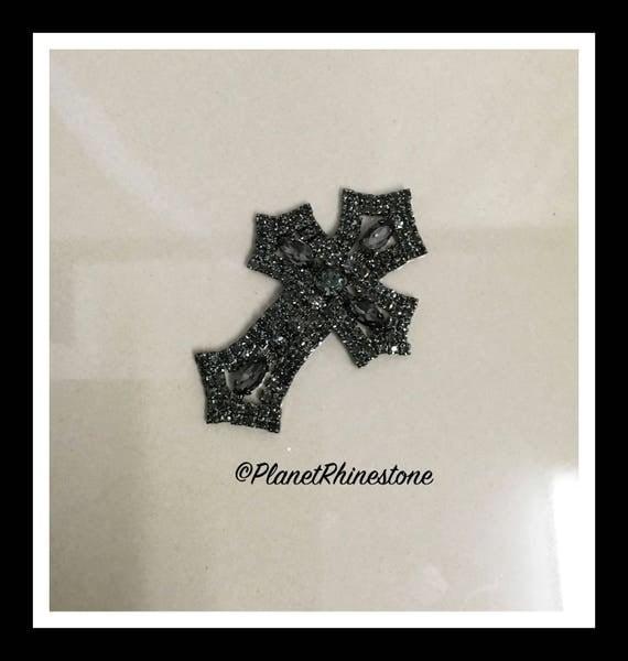 Small  - Rhinestone Cross Applique/ Swarovski Shine/ Baptism/ first communion #CR-2