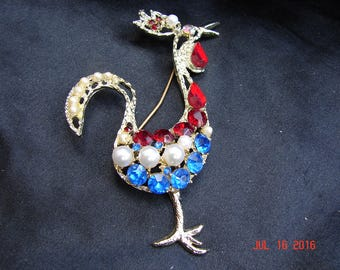 Rhinestone Rooster Figural Pin Brooch Mid Century Red Blue Rhinestones Pearls